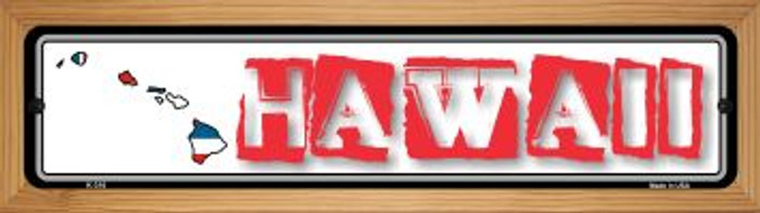Hawaii State Outline Novelty Wood Mounted Metal Small Street Sign WB-K-310