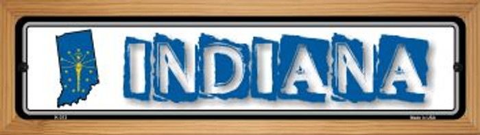 Indiana State Outline Novelty Wood Mounted Metal Small Street Sign WB-K-313