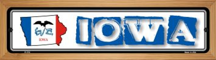 Iowa State Outline Novelty Wood Mounted Metal Small Street Sign WB-K-314