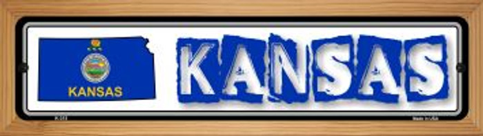 Kansas State Outline Novelty Wood Mounted Metal Small Street Sign WB-K-315