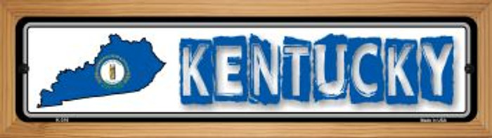 Kentucky State Outline Novelty Wood Mounted Metal Small Street Sign WB-K-316