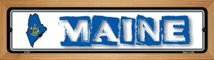 Maine State Outline Novelty Wood Mounted Metal Small Street Sign WB-K-318
