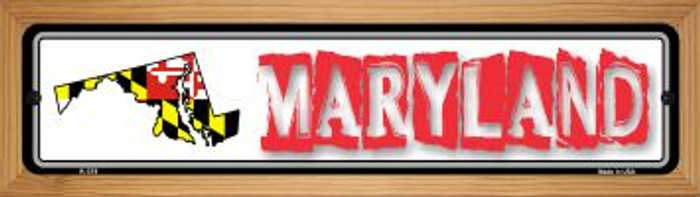 Maryland State Outline Novelty Wood Mounted Metal Small Street Sign WB-K-319