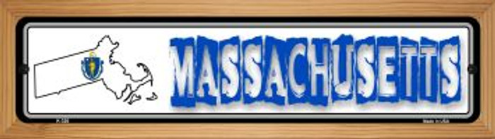 Massachusetts State Outline Novelty Wood Mounted Metal Small Street Sign WB-K-320