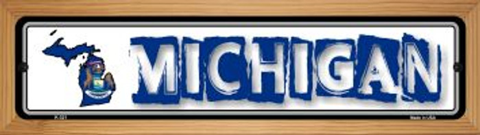 Michigan State Outline Novelty Wood Mounted Metal Small Street Sign WB-K-321