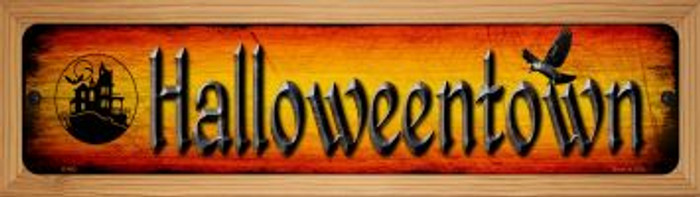 Halloweentown Novelty Wood Mounted Metal Small Street Sign WB-K-492