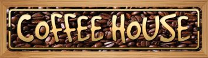 Coffee House Novelty Wood Mounted Metal Small Street Sign WB-K-498
