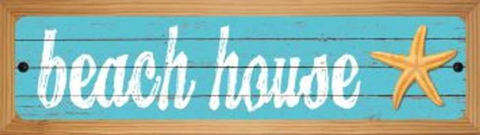 Beach House Novelty Wood Mounted Metal Small Street Sign WB-K-506