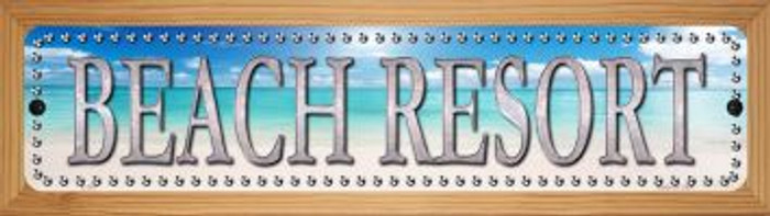Beach Resort Novelty Wood Mounted Metal Small Street Sign WB-K-507