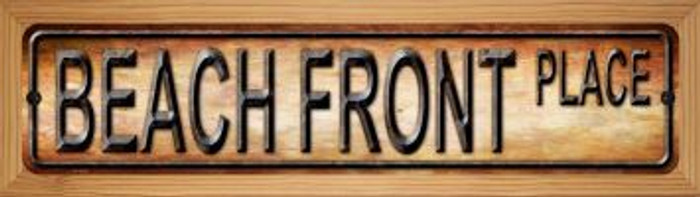 Beach Front Novelty Wood Mounted Metal Small Street Sign WB-K-508