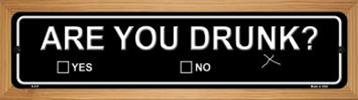 Are You Drunk Novelty Wood Mounted Metal Small Street Sign WB-K-511