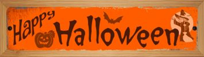 Happy Halloween Novelty Wood Mounted Metal Small Street Sign WB-K-593