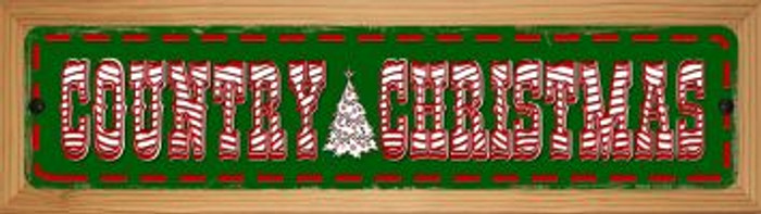 Country Christmas Novelty Wood Mounted Metal Small Street Sign WB-K-598