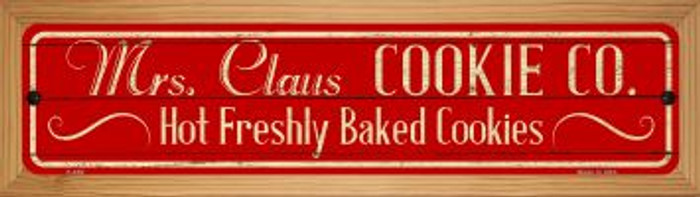 Mrs Claus Cookie Co Novelty Wood Mounted Metal Mini Street Sign WB-K-650