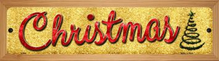 Christmas With Tree Novelty Wood Mounted Metal Small Street Sign WB-K-654