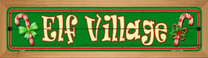 Elf Village Novelty Wood Mounted Metal Small Street Sign WB-K-657