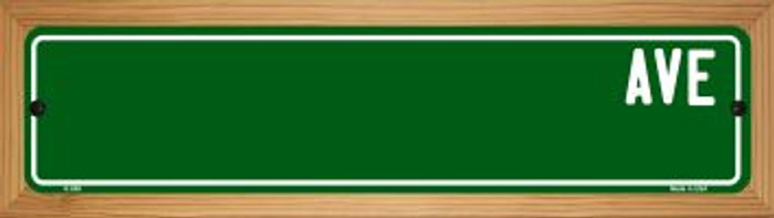 Green Avenue Blank Novelty Wood Mounted Metal Small Street Sign WB-K-658