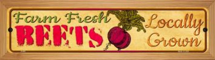 Farm Fresh Beets Novelty Wood Mounted Metal Mini Street Sign WB-K-662