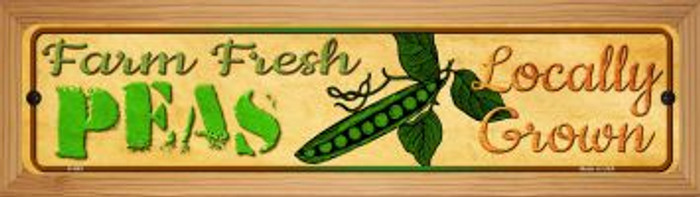 Farm Fresh Peas Novelty Wood Mounted Metal Mini Street Sign WB-K-663