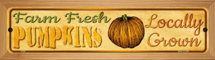 Farm Fresh Pumpkins Novelty Wood Mounted Metal Mini Street Sign WB-K-664