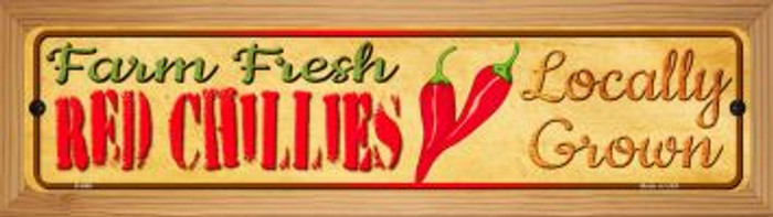 Farm Fresh Red Chillis Novelty Wood Mounted Metal Small Street Sign WB-K-666