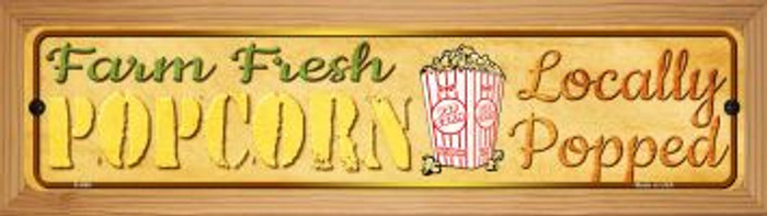 Farm Fresh Popcorn Novelty Wood Mounted Metal Mini Street Sign WB-K-668