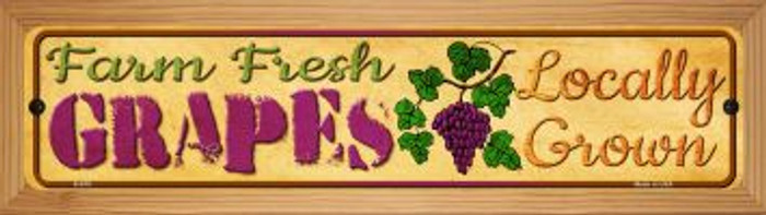 Farm Fresh Grapes Novelty Wood Mounted Metal Mini Street Sign WB-K-675