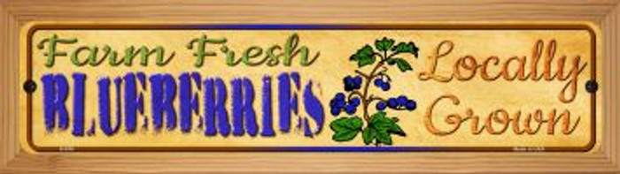 Farm Fresh Blueberries Novelty Wood Mounted Metal Small Street Sign WB-K-676