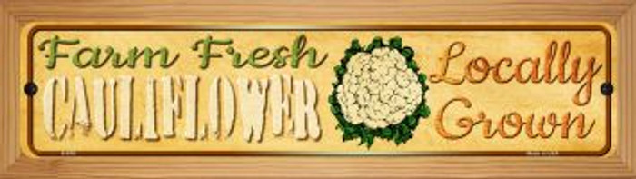 Farm Fresh Cauliflower Novelty Wood Mounted Metal Mini Street Sign WB-K-678