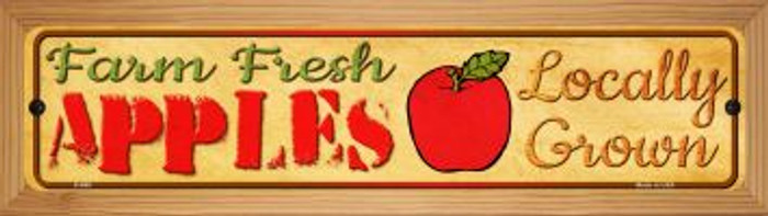 Farm Fresh Apples Novelty Wood Mounted Metal Mini Street Sign WB-K-680