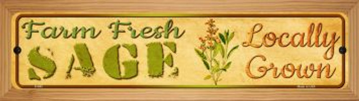 Farm Fresh Sage Novelty Wood Mounted Metal Mini Street Sign WB-K-682