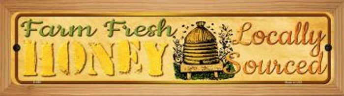 Farm Fresh Honey Novelty Wood Mounted Metal Mini Street Sign WB-K-688