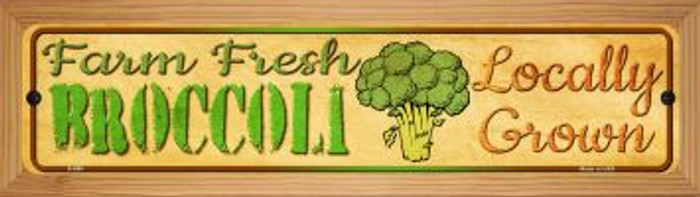 Farm Fresh Broccoli Novelty Wood Mounted Metal Mini Street Sign WB-K-690