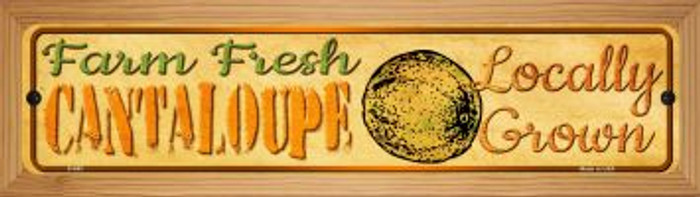 Farm Fresh Cantaloupe Novelty Wood Mounted Metal Mini Street Sign WB-K-692