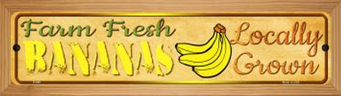 Farm Fresh Bananas Novelty Wood Mounted Metal Mini Street Sign WB-K-696
