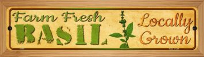 Farm Fresh Basil Novelty Wood Mounted Metal Mini Street Sign WB-K-698
