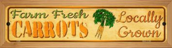 Farm Fresh Carrots Novelty Wood Mounted Metal Mini Street Sign WB-K-699