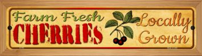 Farm Fresh Cherries Novelty Wood Mounted Metal Mini Street Sign WB-K-702