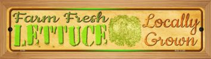 Farm Fresh Lettuce Novelty Wood Mounted Metal Mini Street Sign WB-K-705