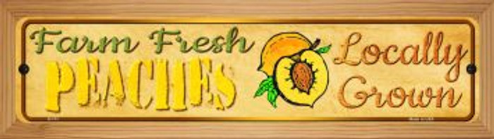 Farm Fresh Peaches Novelty Wood Mounted Metal Mini Street Sign WB-K-711