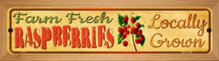 Farm Fresh Raspberries Novelty Wood Mounted Metal Mini Street Sign WB-K-713