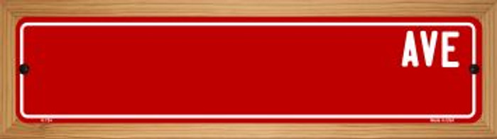 Red Avenue Blank Novelty Wood Mounted Metal Small Street Sign WB-K-724