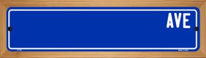 Blue Avenue Blank Novelty Wood Mounted Metal Small Street Sign WB-K-726