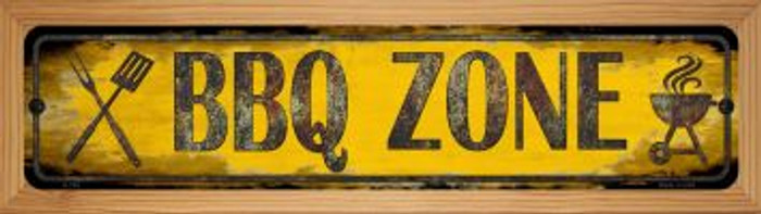 BBQ Zone Novelty Wood Mounted Metal Small Street Sign WB-K-728