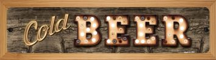 Cold Beer Novelty Wood Mounted Metal Small Street Sign WB-K-813