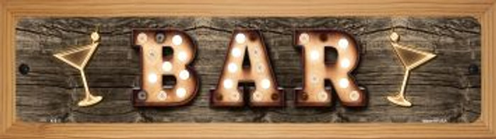 Bar Cocktails Novelty Wood Mounted Metal Small Street Sign WB-K-817