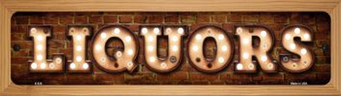 Liquors Novelty Wood Mounted Metal Mini Street Sign WB-K-838