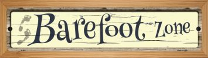 Barefoot Zone Novelty Wood Mounted Metal Small Street Sign WB-K-863