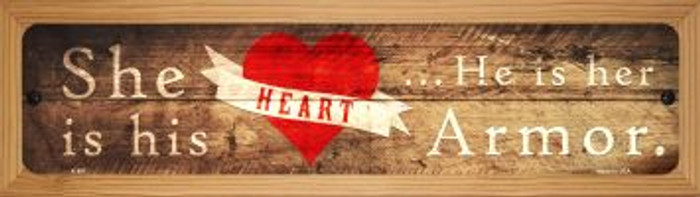Heart and Armor Novelty Wood Mounted Metal Mini Street Sign WB-K-897