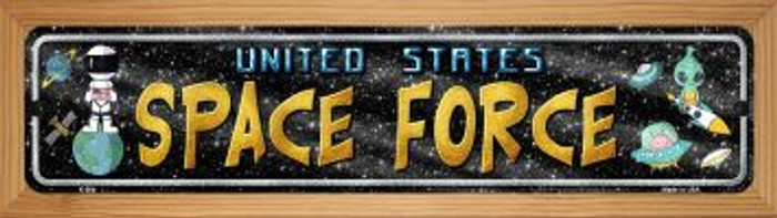 US Space Force Novelty Wood Mounted Metal Mini Street Sign WB-K-904